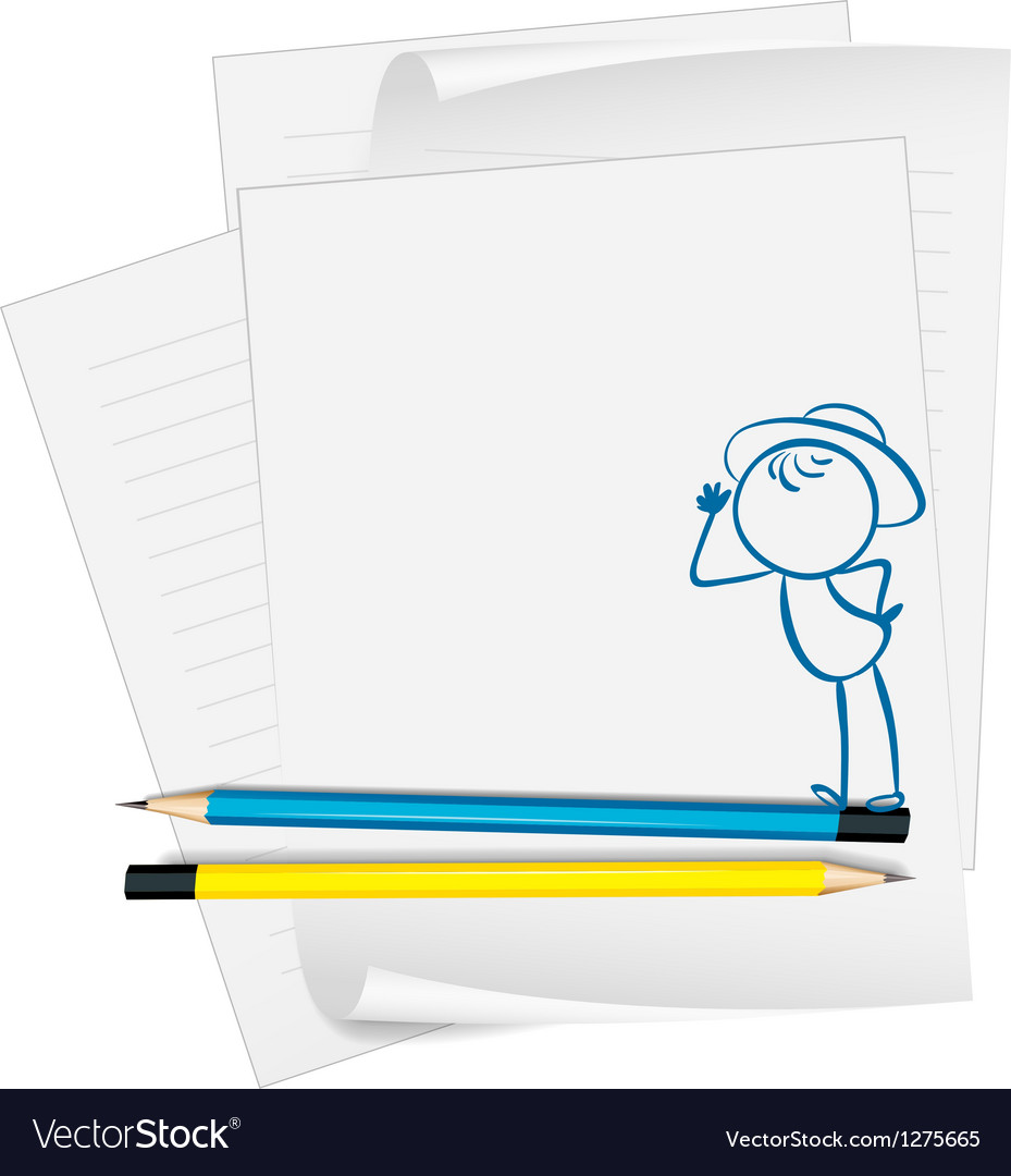 A paper with a drawing of a boy wearing a hat vector