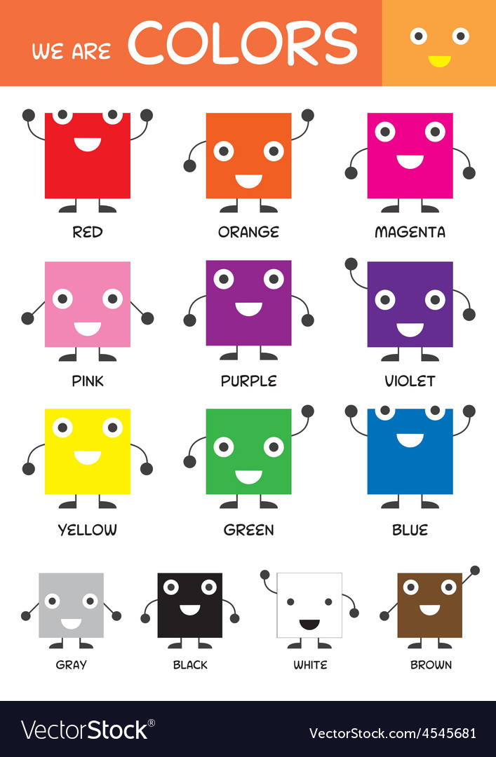 Number Names Worksheets preschool color chart : Kids basic colors chart vector by muchmania - Image #4545681 ...