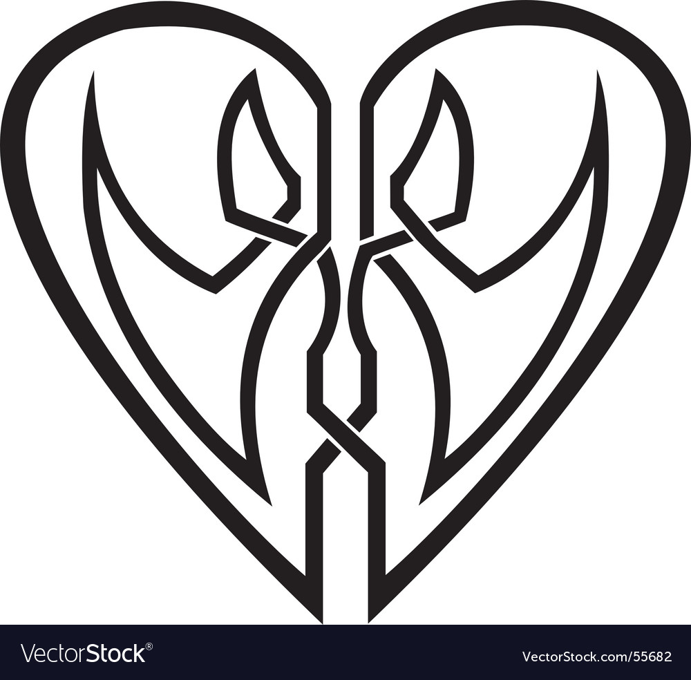 Celtic heart tribal tattoo vector