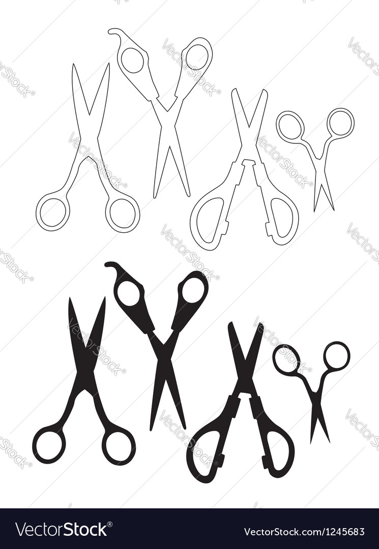 Set of black scissors vector