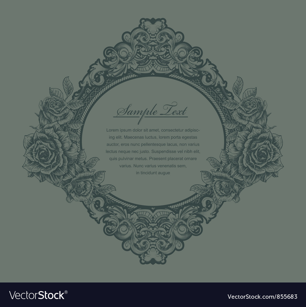 Free vintage floral frame with roses vector