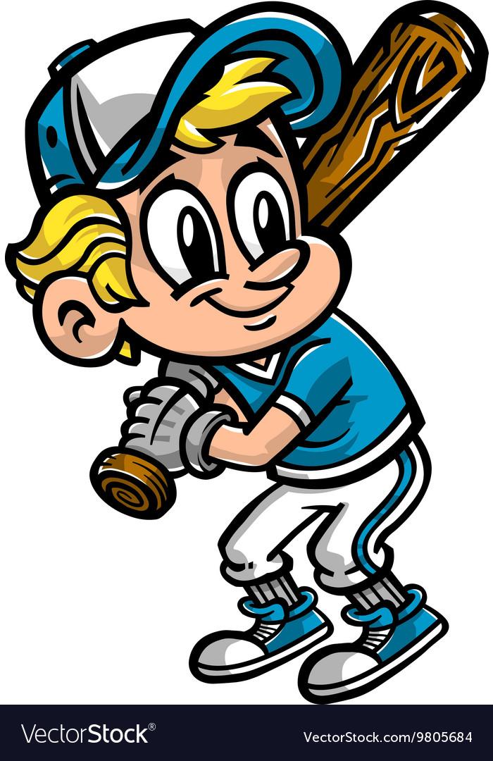Kid With Baseball And Bat  Vector Cartoon Illustration