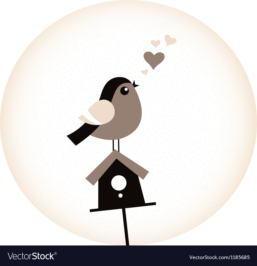 Cute valentine bird with a birdhouse  retro brown vector