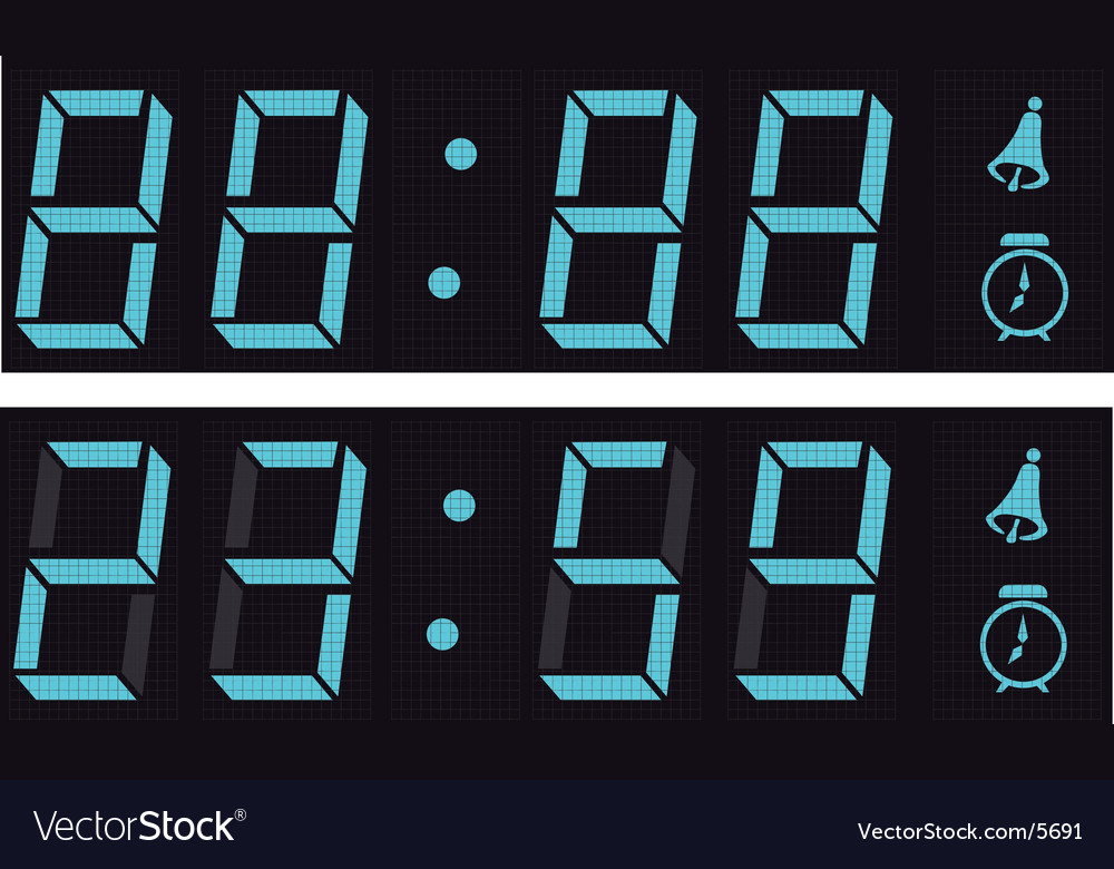 Display a digital clock vector
