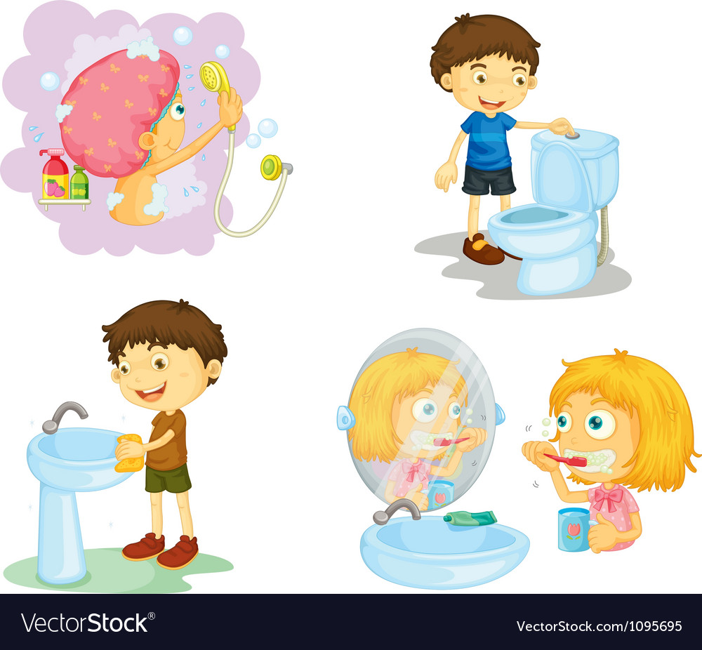 Kids and bathroom accessories vector