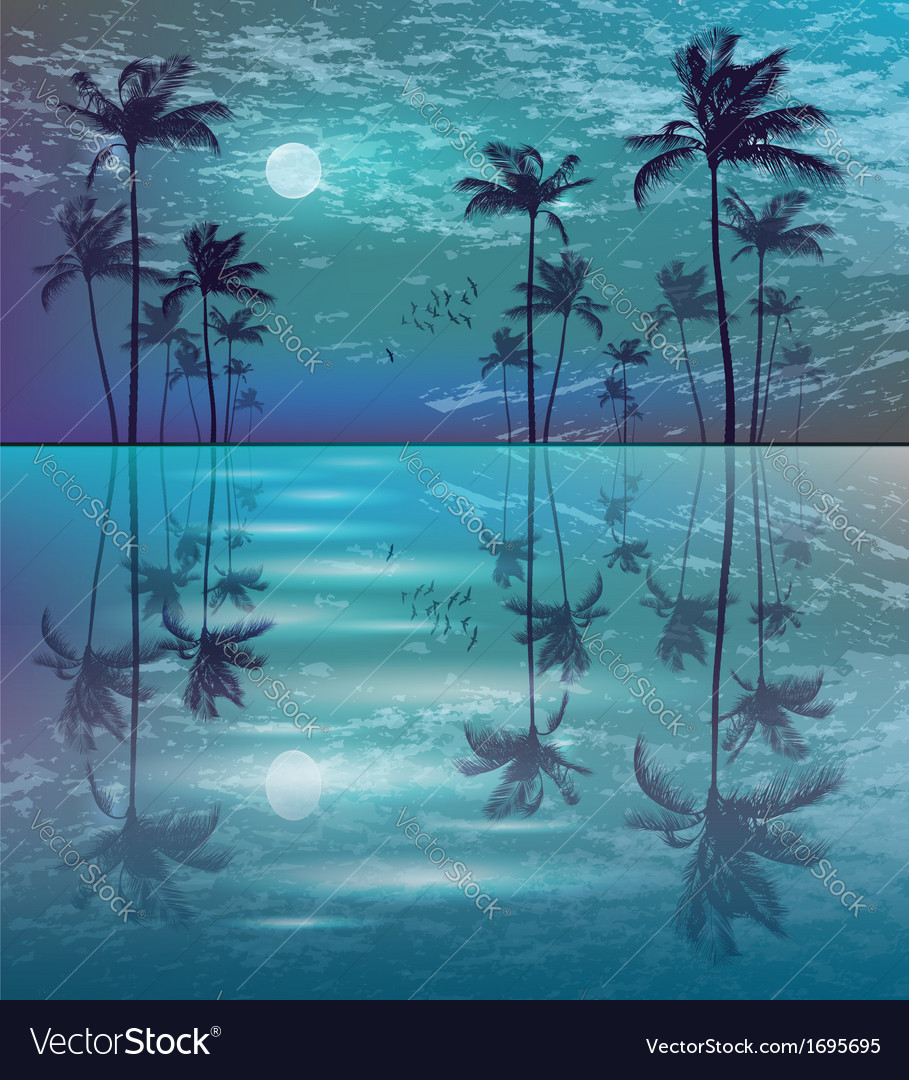 Palm trees in moonlight vector