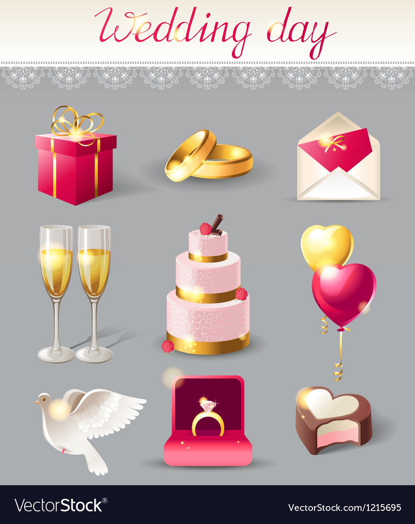 Wedding icons new vector