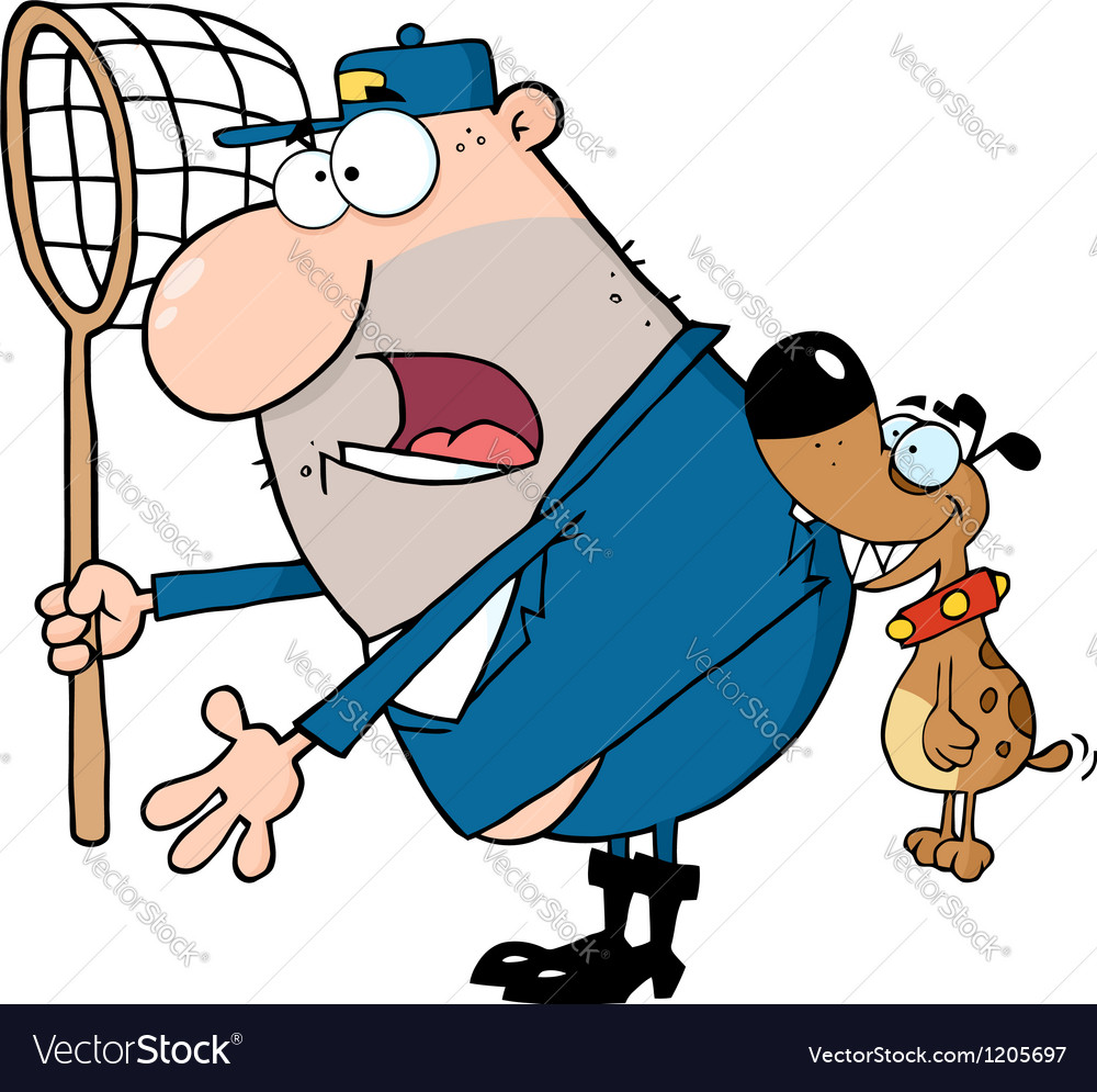 Angry dog biting a dog catcher vector