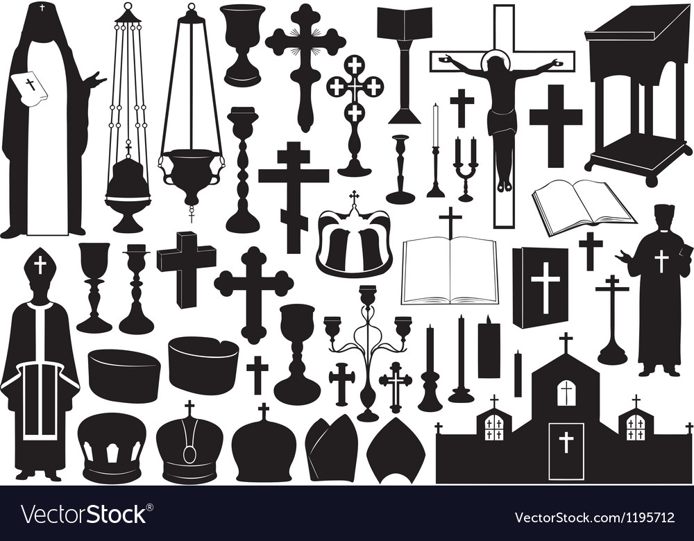 Set of religious elements vector