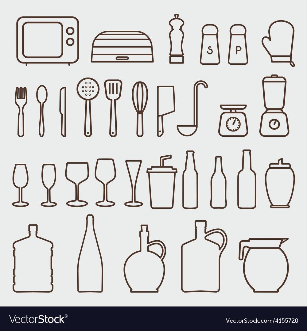 Sketch Of Kitchen Utensils : Outline kitchen icon set graphics vector by alvarocabrera - Image ...