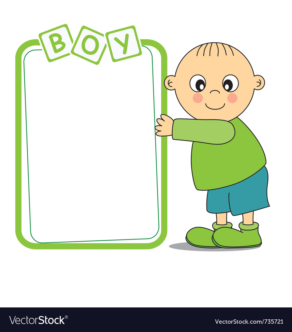 Baby boy with a frame vector
