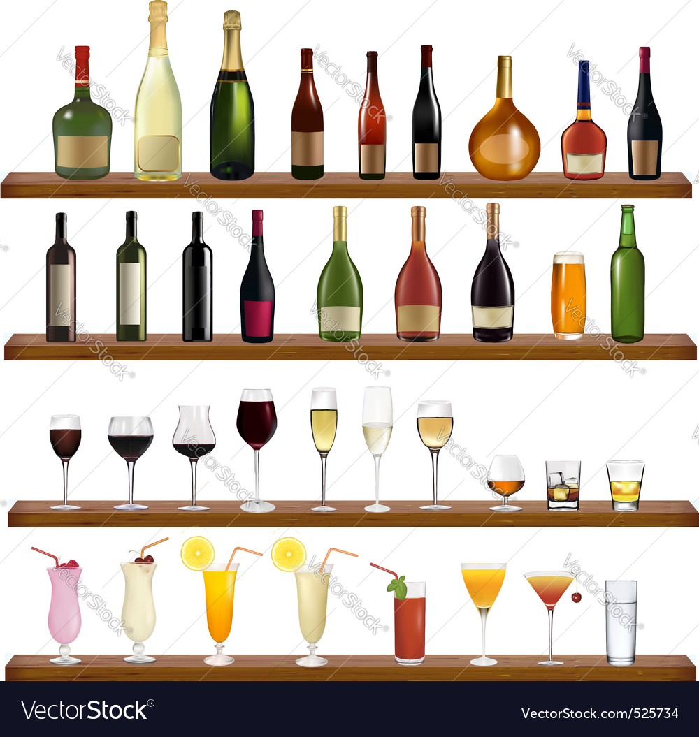 Collection of bottles and glasses vector