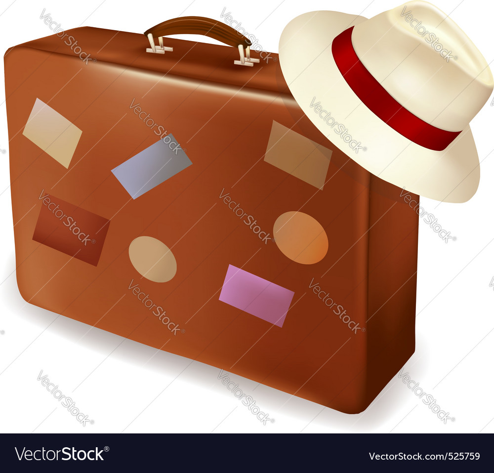 Travel bag and cap vector