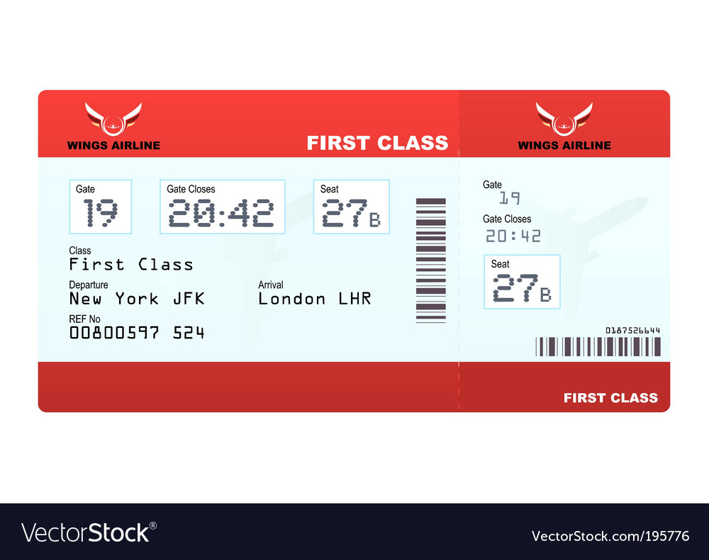 Plane tickets first class vector