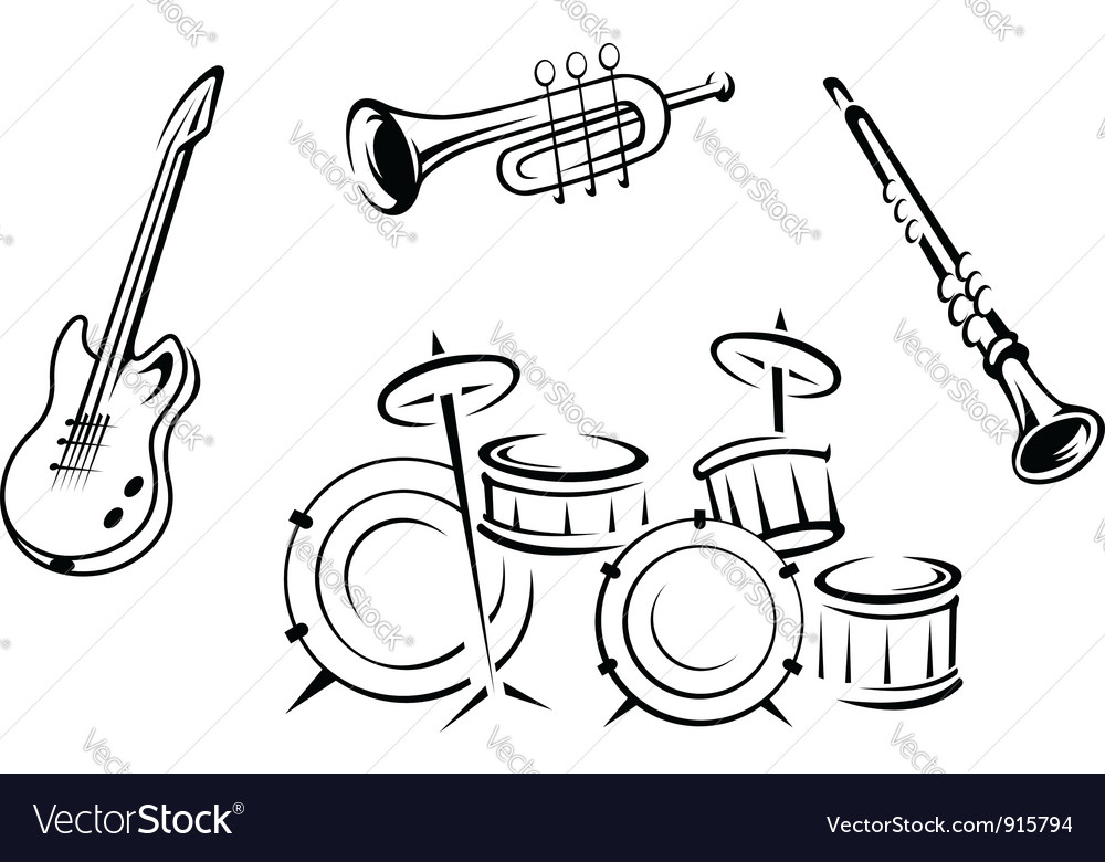 Set of musical instruments in retro style vector
