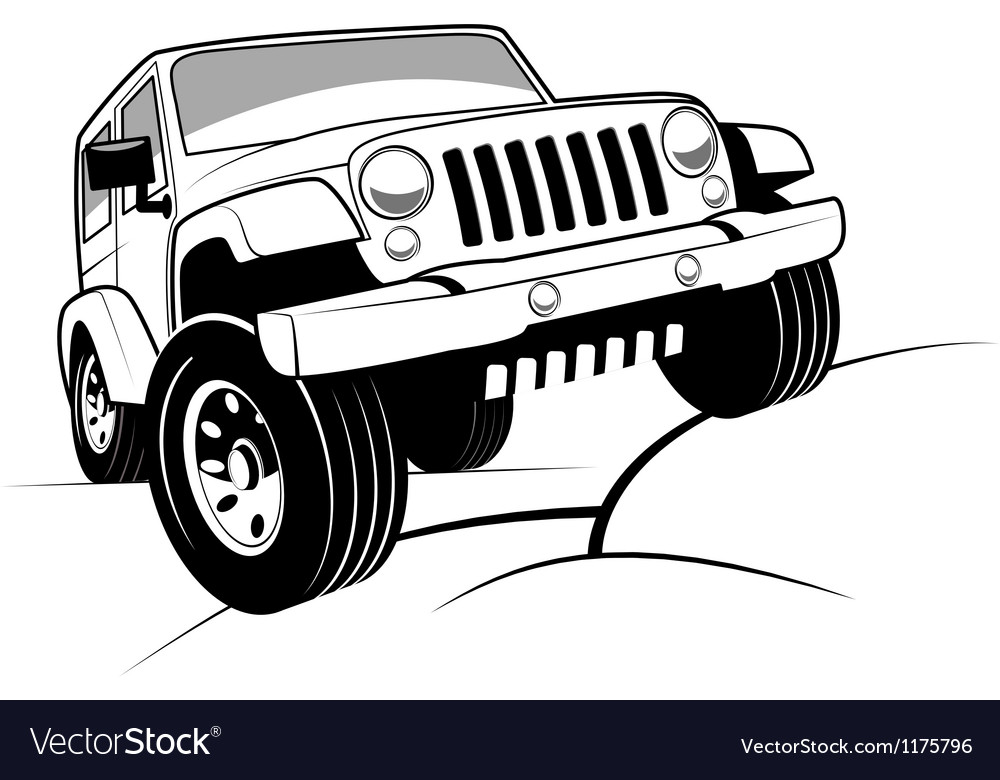 Monochrome detailed cartoon offroad jeep vector