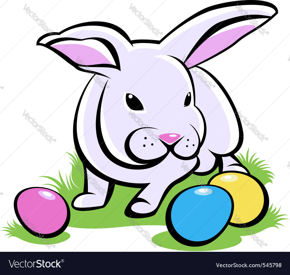 Bunny with easter eggs vector