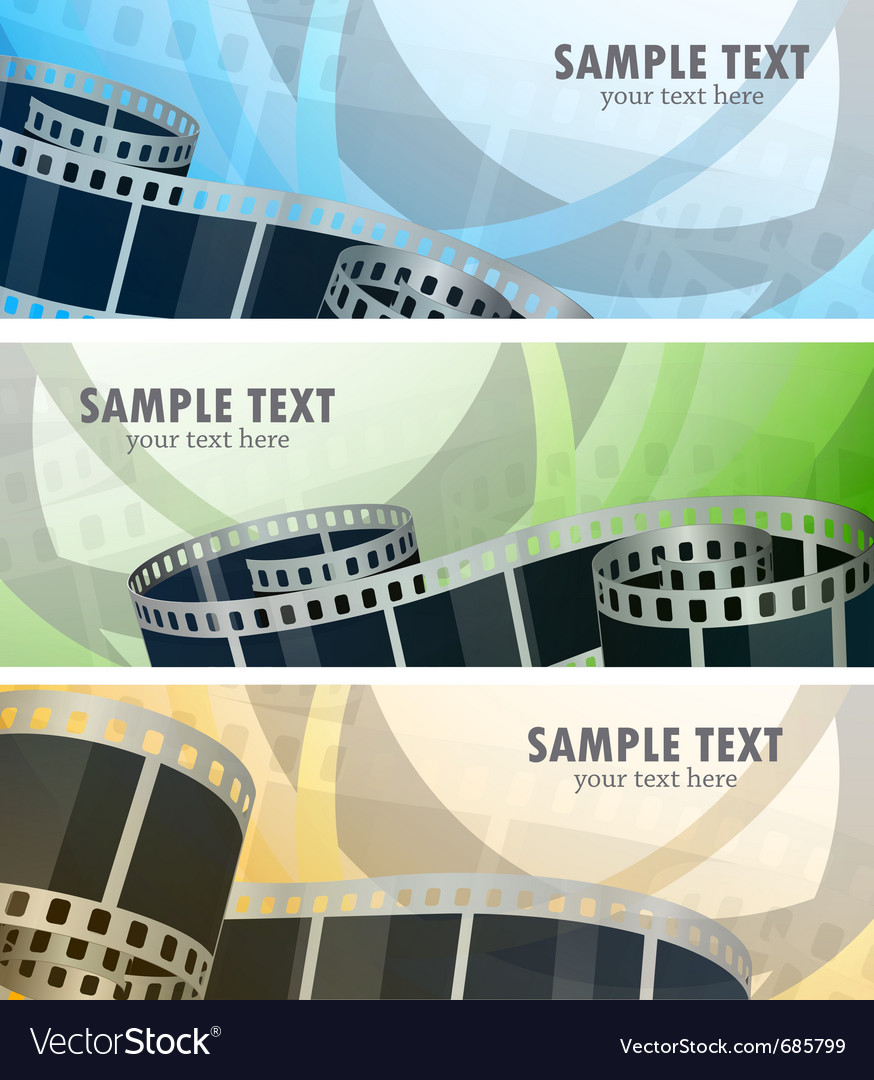 Set of banners with film reel vector