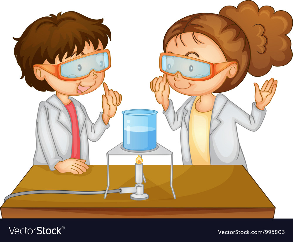Scientists executing experiment vector