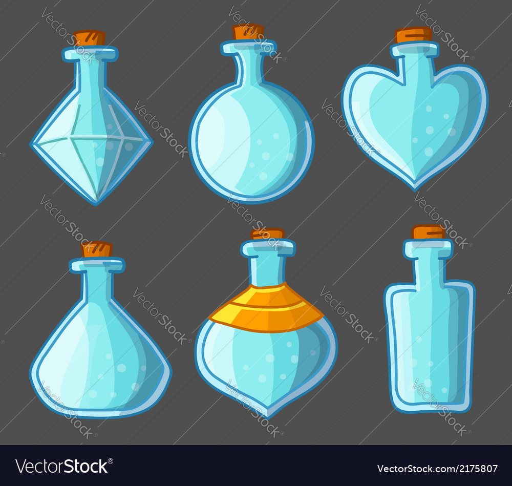 Collection of empty bottles magic vector