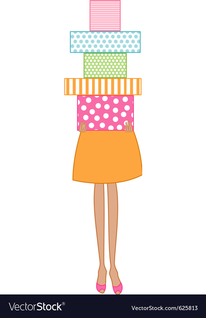 Free woman holding presents vector