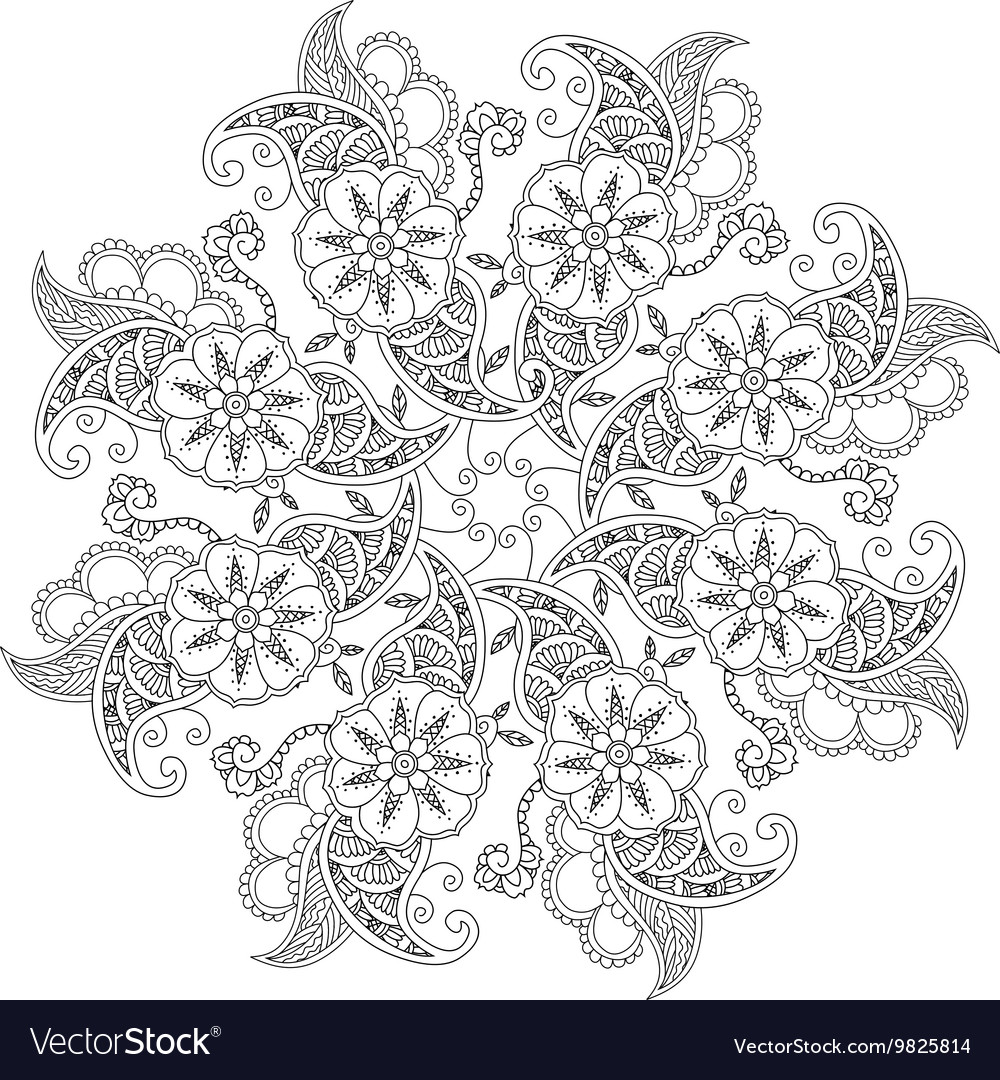 Mendie Mandala With Flowers And Leaves For Vector By