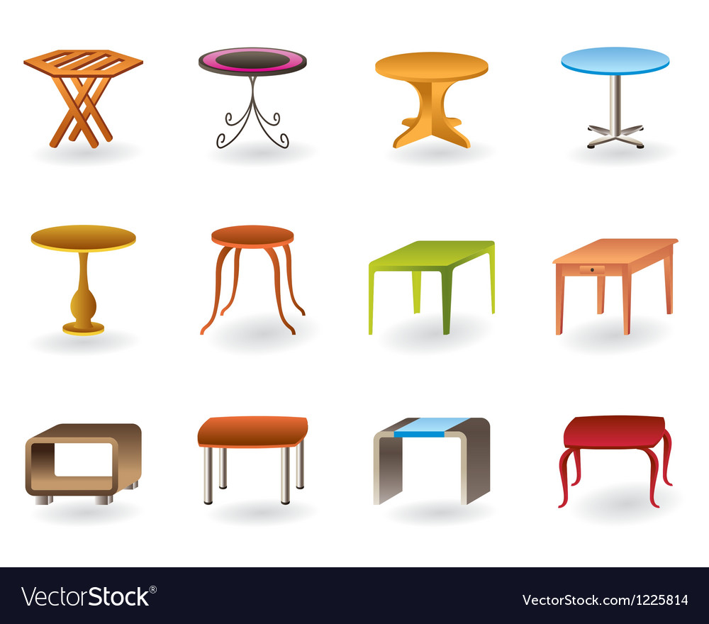Office interior and garden tables vector