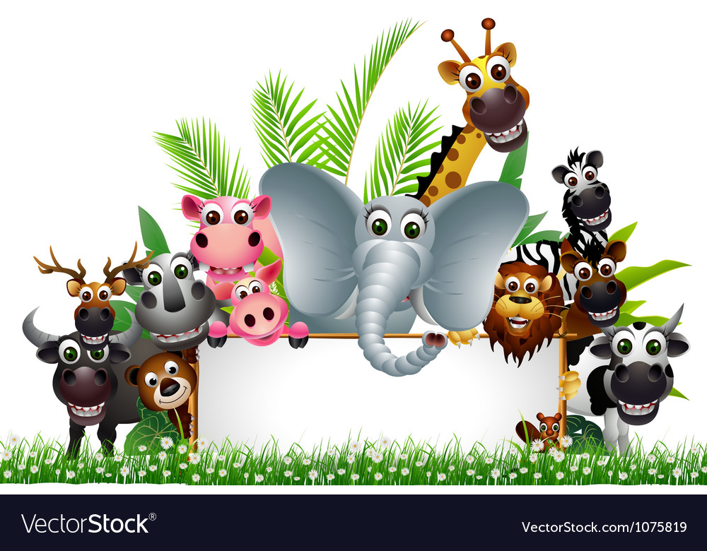 Funny animal cartoon with blank sign vector