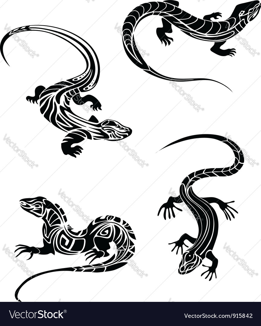 Fast lizards in and tribal style vector