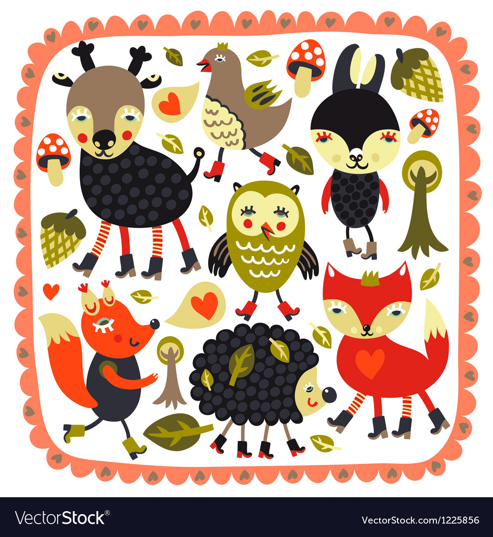 Cute background with woodland animals and birds vector