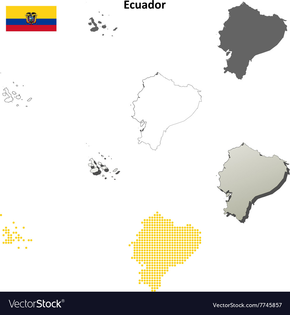 Ecuador outline map set