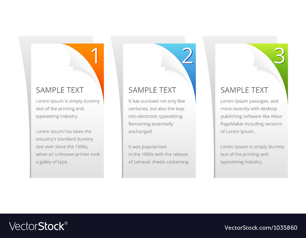 Set of colorful sample option stickers vector