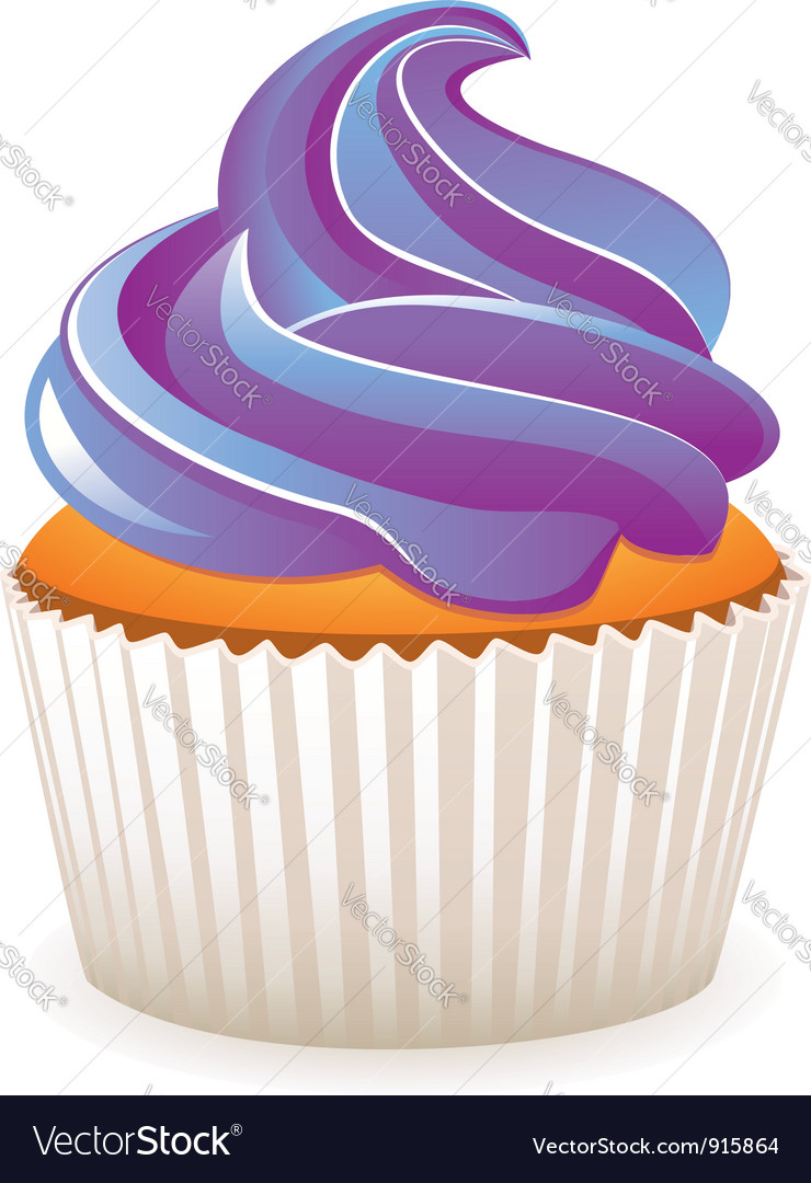 Purple cupcake vector