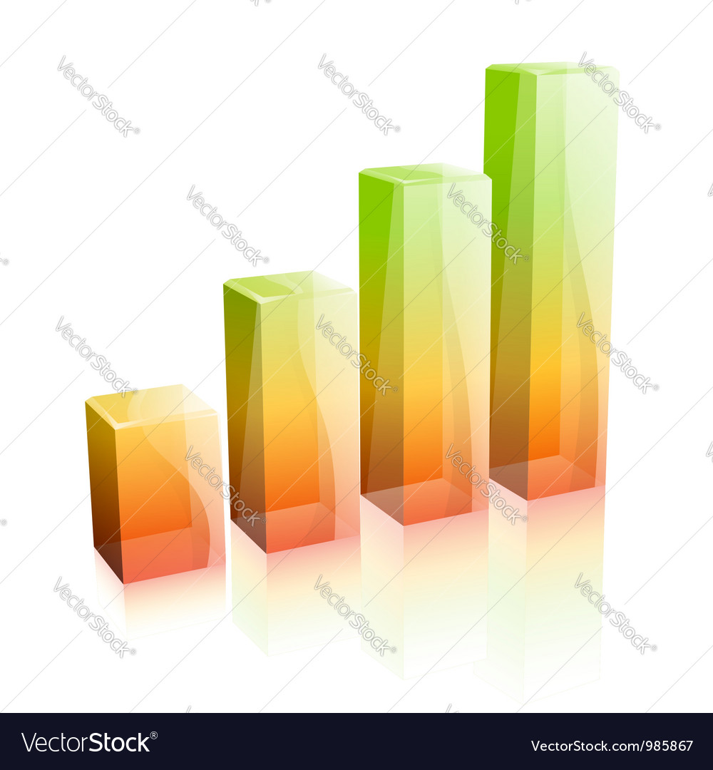 3d glass graph concept  success in business vector
