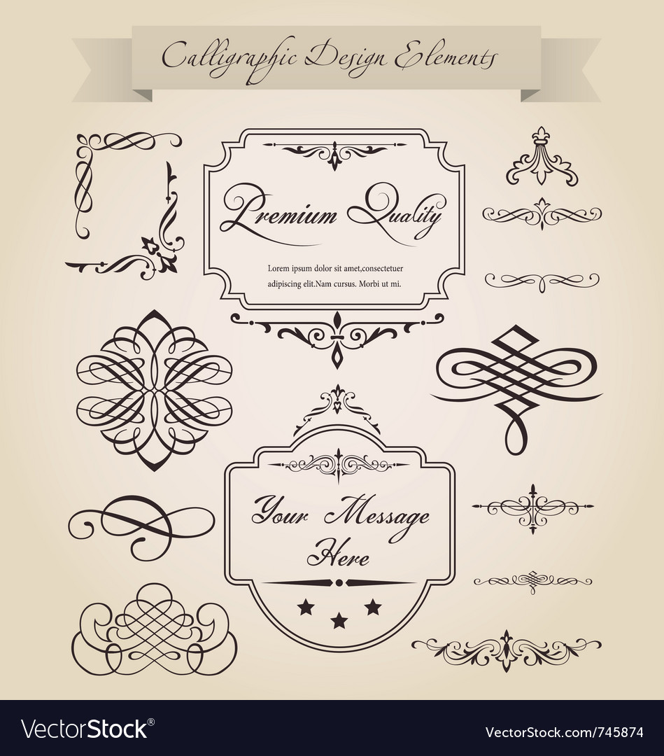 Free calligraphic design elements vector