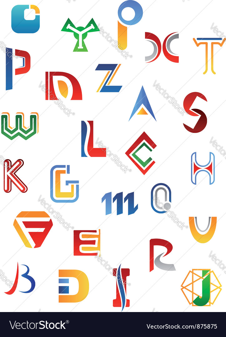 Set of full alphabet symbols vector