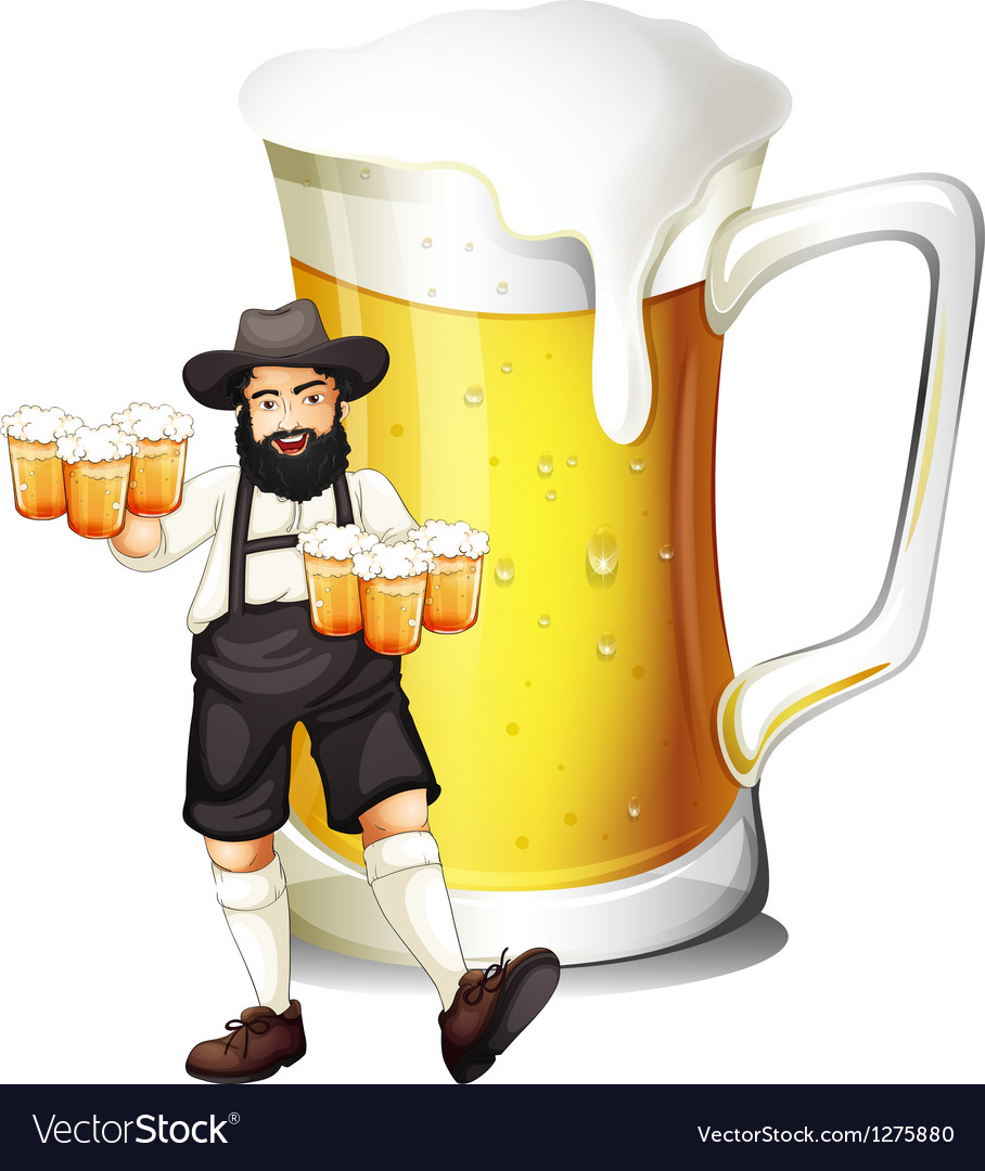 A man with a glass full of beer vector