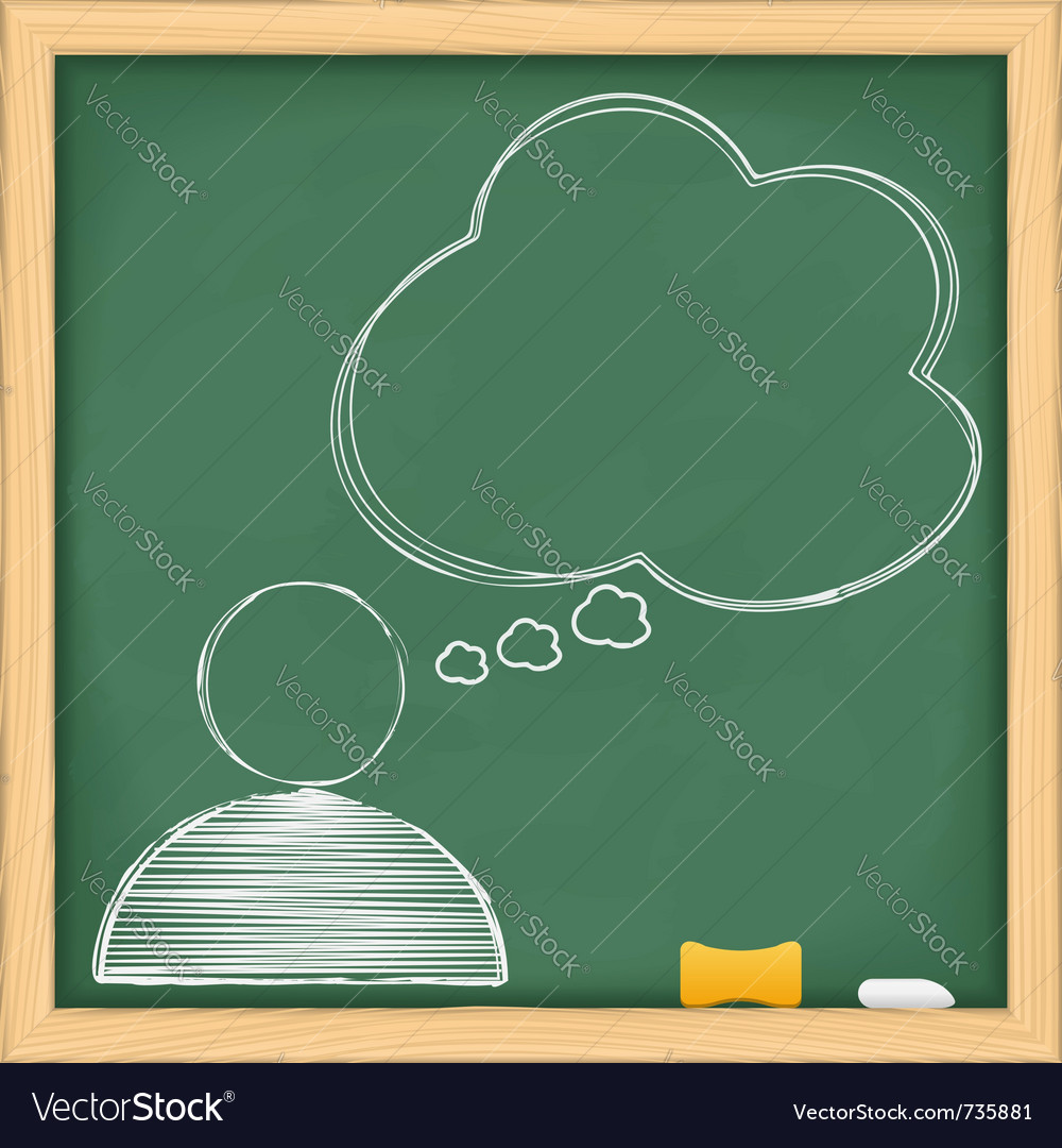 Symbol of human with speech bubble on blackboard vector