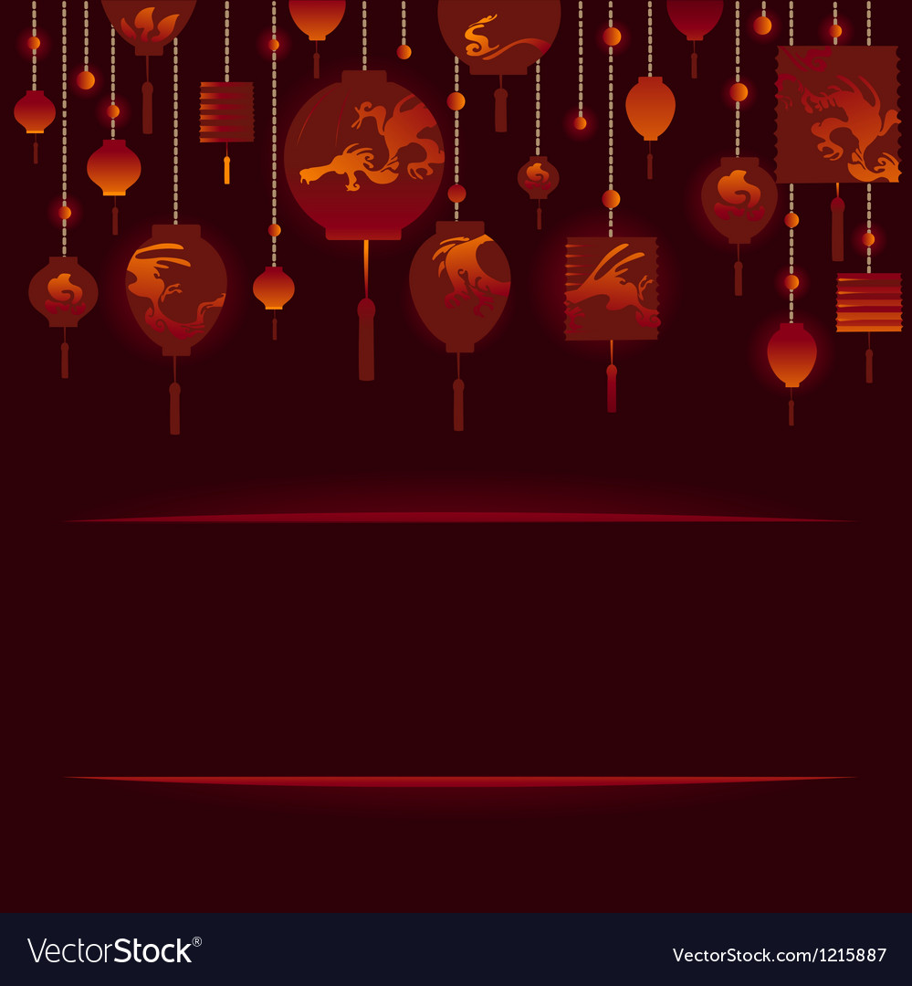 Decorative background with red lamp vector