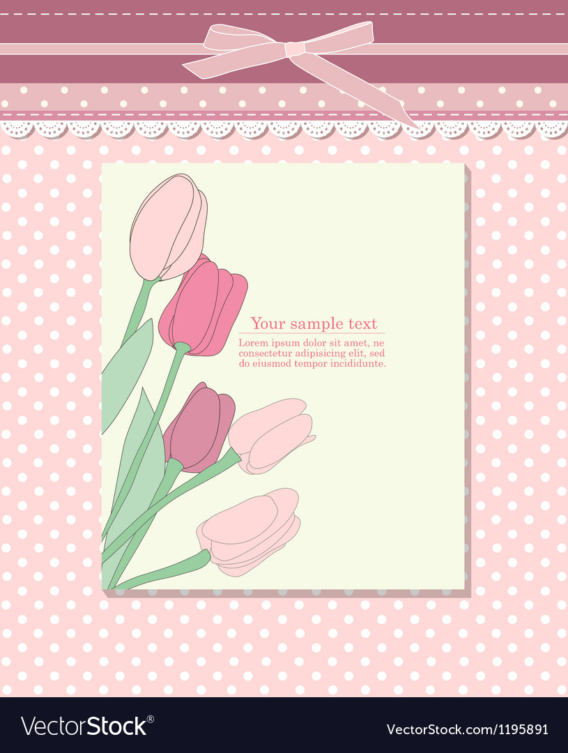 Vintage pink card with tulip vector