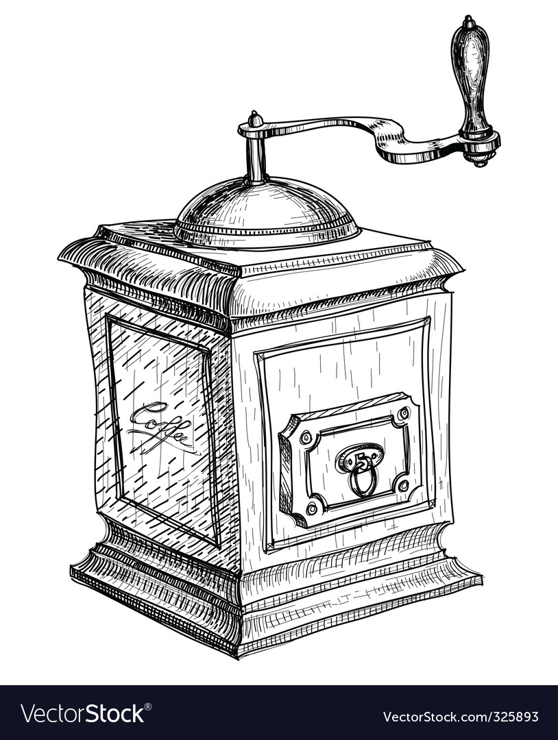 Coffee grinder sketch vector