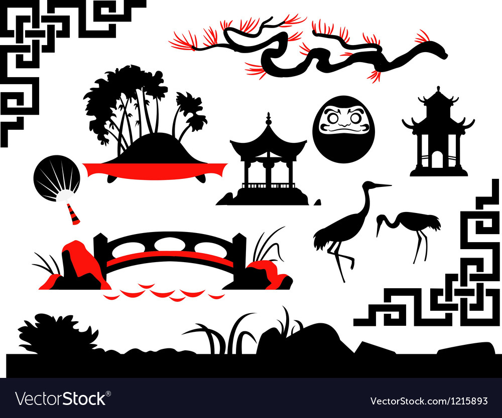 Collection of asian garden vector