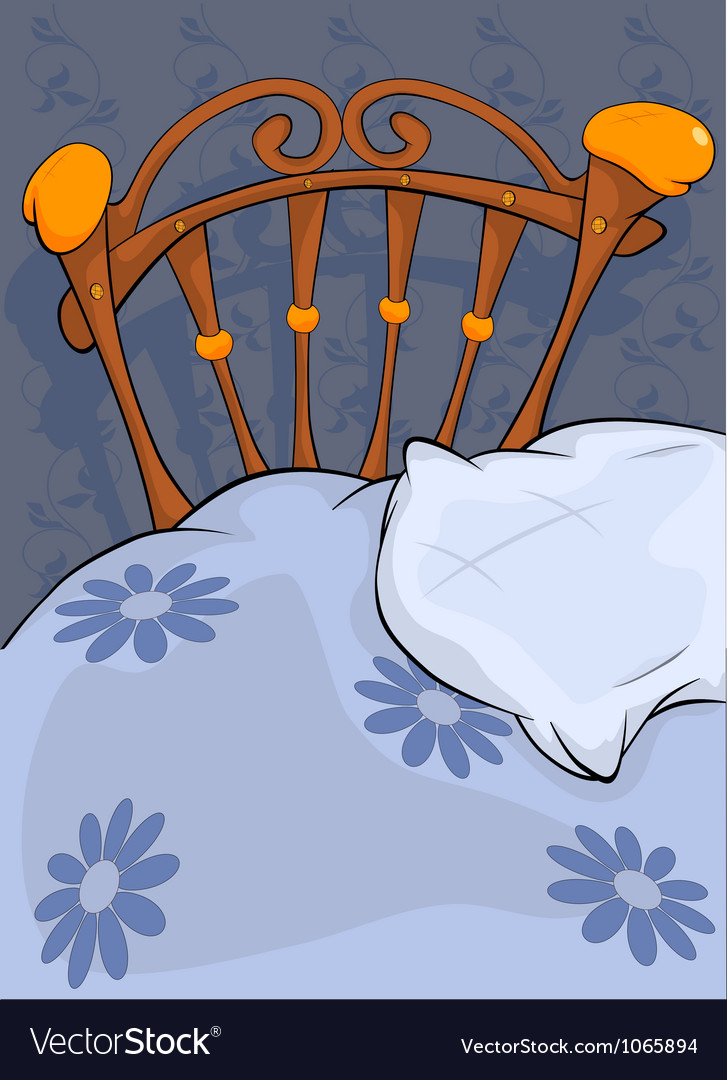 Old bed and pillow vector
