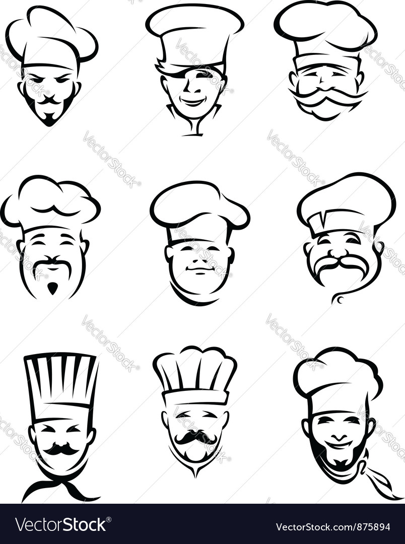 Set of different restaurant chefs vector
