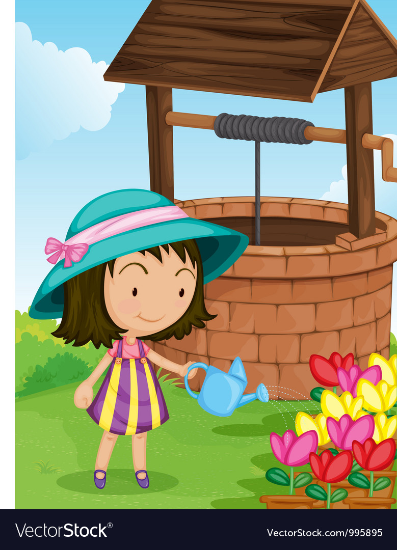 Girl by the well vector