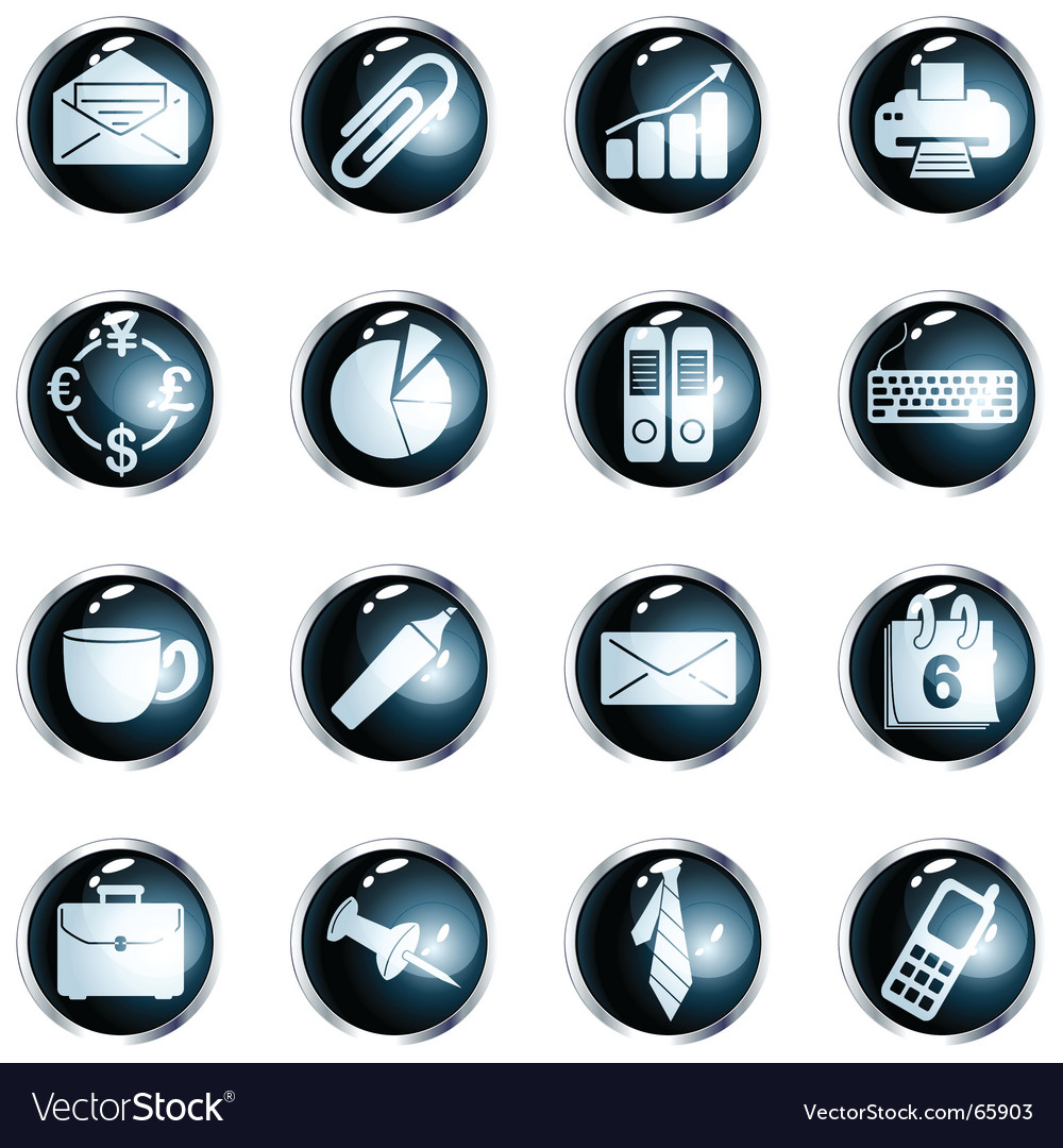 Round black highgloss office buttons vector