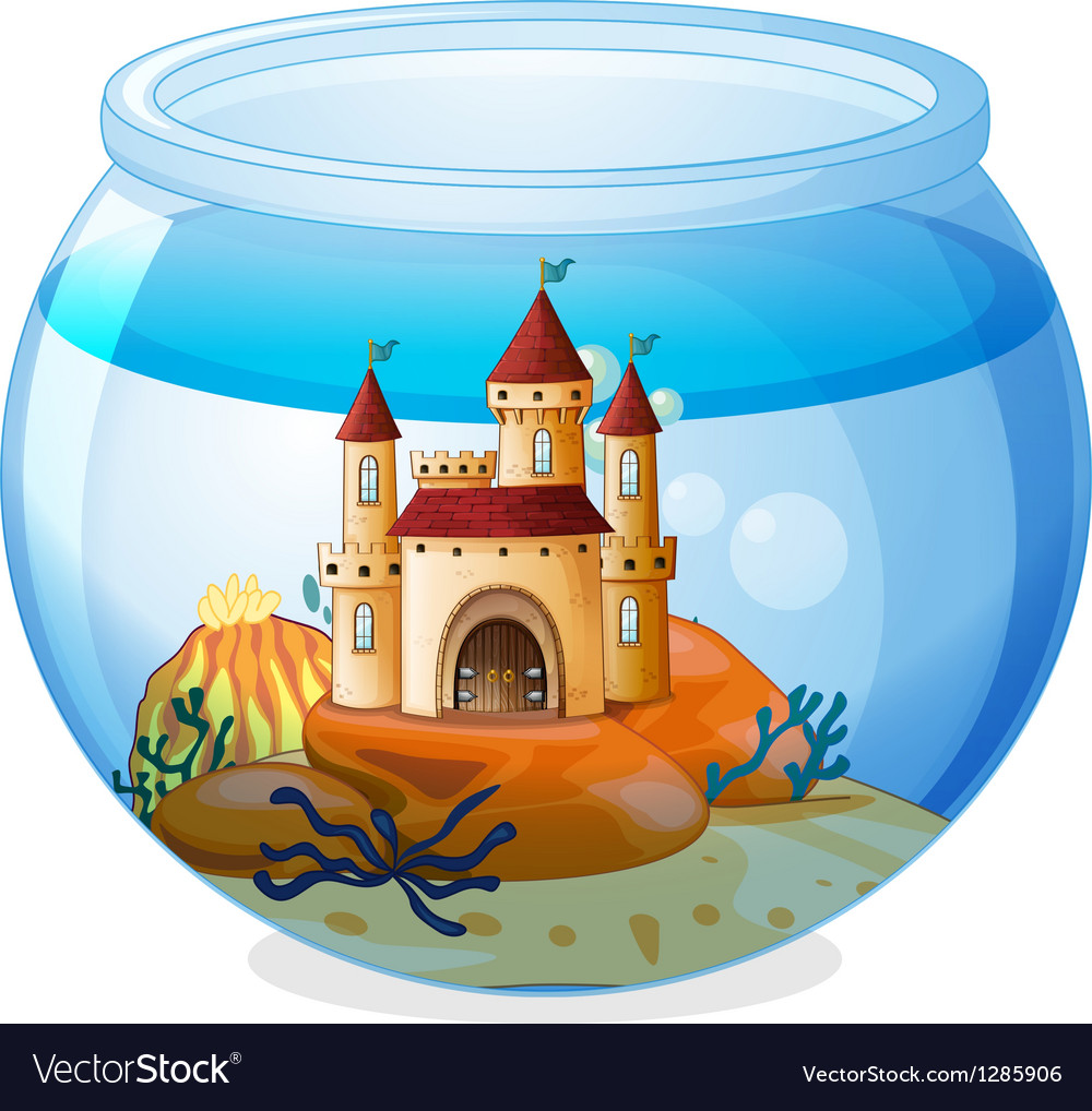 A castle inside a fishbowl vector