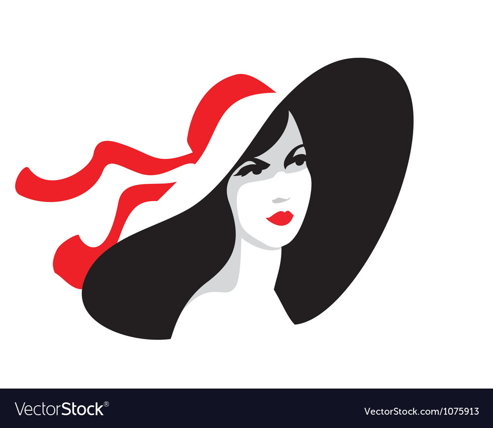 Fashionable woman portrait in big hat vector