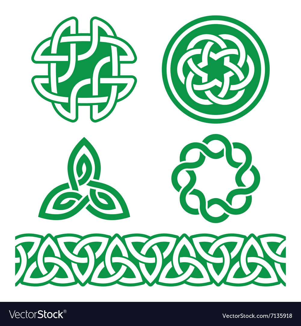 Celtic irish green patterns and knots  st vector