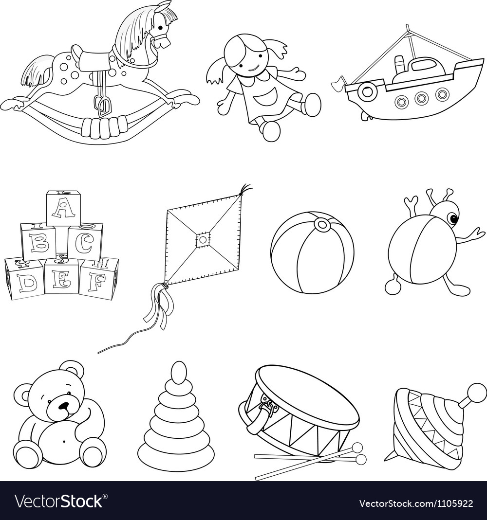Set of toys for coloring vector